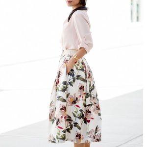 Zara Floral Printed Cotton Poplin Midi Skirt XS